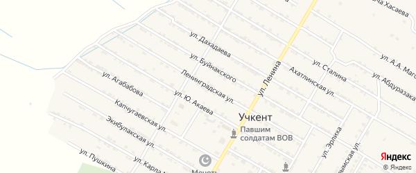Ленинградская улица на карте села Учкента с номерами домов