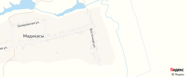 Восточная улица на карте деревни Мадикас с номерами домов