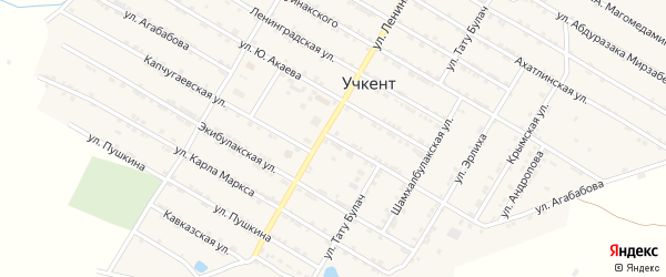 Улица Агабавова на карте села Учкента с номерами домов