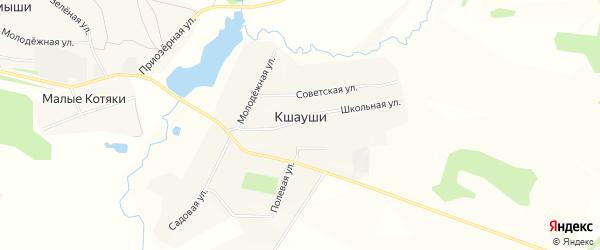 Карта деревни Кшаушей в Чувашии с улицами и номерами домов