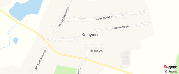 Полевая улица на карте деревни Кшаушей с номерами домов