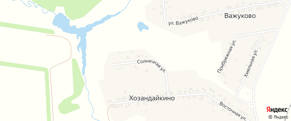 Солнечная улица на карте деревни Хозандайкино с номерами домов
