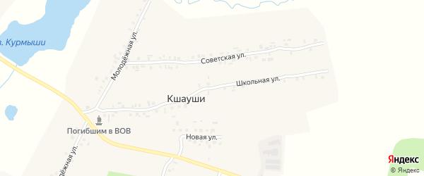 Школьная улица на карте деревни Кшаушей с номерами домов