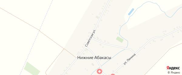 Советская улица на карте деревни Нижние Абакасы с номерами домов
