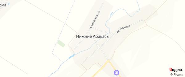 Карта деревни Нижние Абакасы в Чувашии с улицами и номерами домов