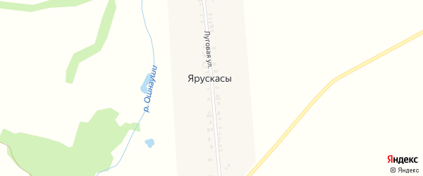 Луговая улица на карте деревни Ярускасы с номерами домов