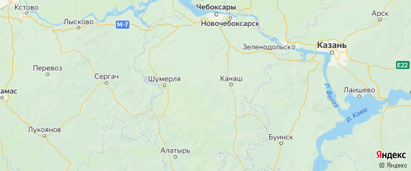 Карта Янтиковского района республики Чувашия с городами и населенными пунктами