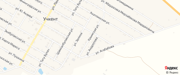 Крымская улица на карте села Учкента с номерами домов