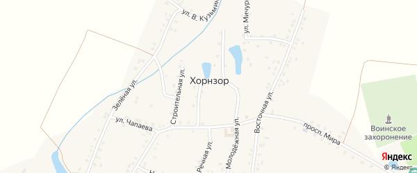 Восточная улица на карте деревни Хорнзор с номерами домов