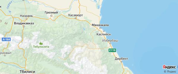 Карта Буйнакского района республики Дагестан с городами и населенными пунктами