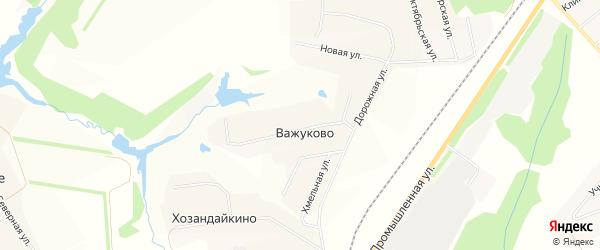 Карта деревни Важуково в Чувашии с улицами и номерами домов