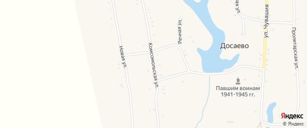 Комсомольская улица на карте деревни Досаево с номерами домов