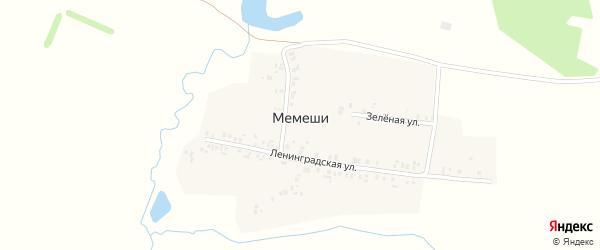 Зеленая улица на карте деревни Мемеши с номерами домов