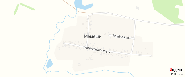 Ленинградская улица на карте деревни Мемеши с номерами домов
