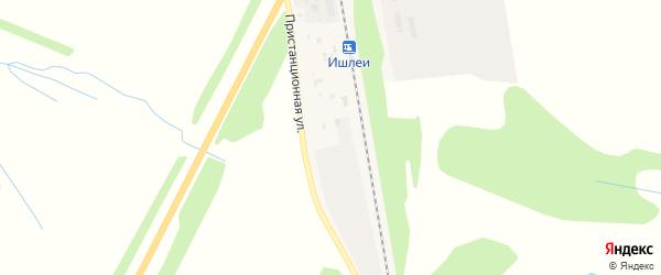 Пристанционная улица на карте станции Ишлеи с номерами домов