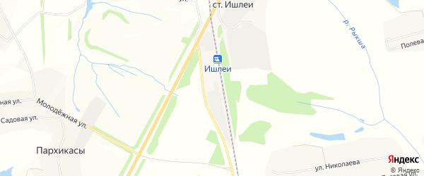 Карта станции Ишлеи в Чувашии с улицами и номерами домов