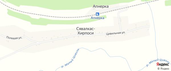 Переездный переулок на карте деревни Сявалкас-Хирпоси с номерами домов