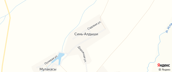 Карта деревни Сини-Алдыши в Чувашии с улицами и номерами домов