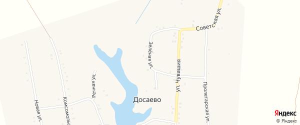 Зеленая улица на карте деревни Досаево с номерами домов