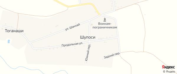 Южный переулок на карте деревни Шупосей с номерами домов