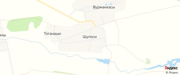 Карта деревни Шупосей в Чувашии с улицами и номерами домов