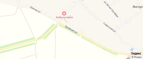 Зеленая улица на карте села Янгорчино с номерами домов