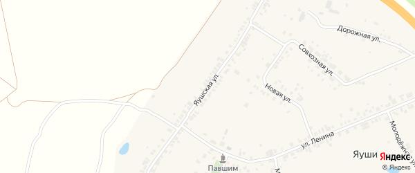 Яушская улица на карте деревни Яуш с номерами домов