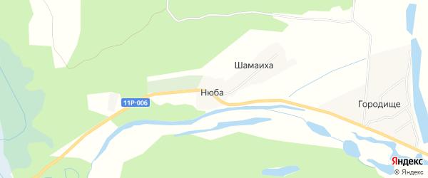 Карта деревни Нюбы города Сольвычегодска в Архангельской области с улицами и номерами домов