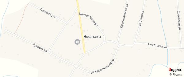 Центральная улица на карте деревни Яманаки с номерами домов