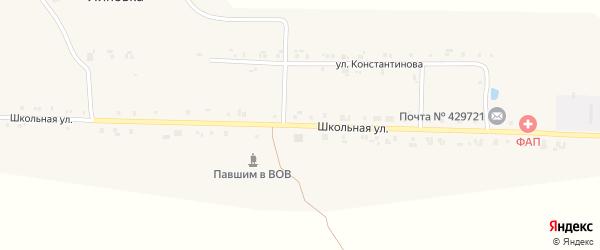 Школьная улица на карте поселка Липовки с номерами домов