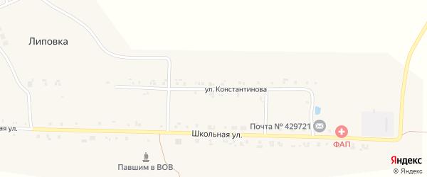 Улица Константинова на карте поселка Липовки с номерами домов