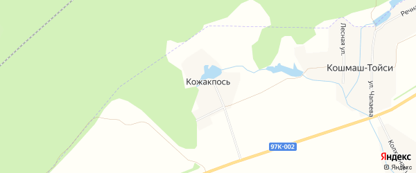 Карта поселка Кожакпоси в Чувашии с улицами и номерами домов