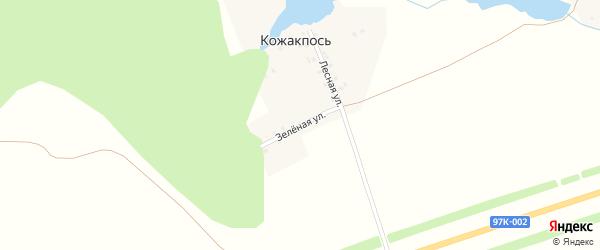 Зеленая улица на карте поселка Кожакпоси с номерами домов