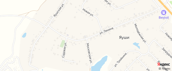 Улица Тройкина на карте деревни Яуш с номерами домов