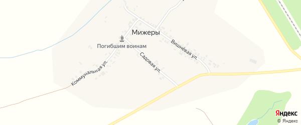 Садовая улица на карте деревни Мижеры с номерами домов