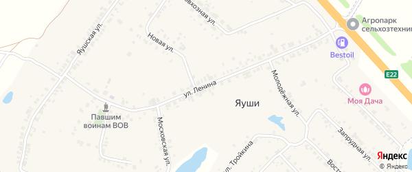 Улица Ленина на карте деревни Яуш с номерами домов