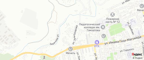 Переулок Зульпукарова на карте Буйнакска с номерами домов
