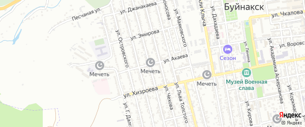 Улица Абусупьяна Акаева на карте Буйнакска с номерами домов