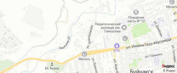 Улица Зульпукарова на карте Буйнакска с номерами домов