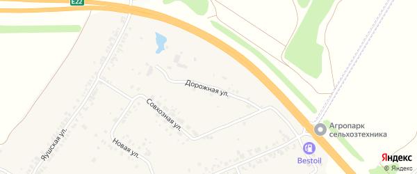 Дорожная улица на карте деревни Яуш с номерами домов