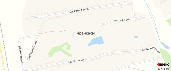 Луговая улица на карте деревни Яранкасы с номерами домов