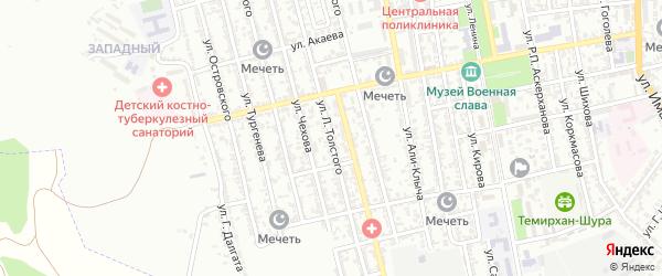 Улица Л.Толстого на карте Буйнакска с номерами домов