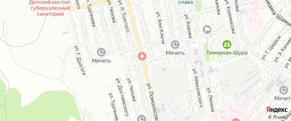 Улица Агасиева на карте Буйнакска с номерами домов