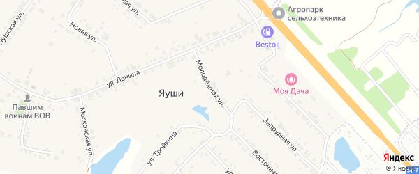 Молодежная улица на карте деревни Яуш с номерами домов