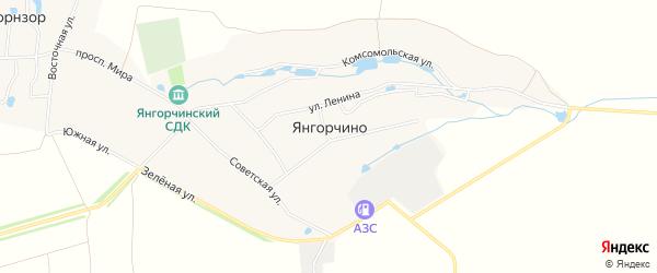 Карта села Янгорчино в Чувашии с улицами и номерами домов