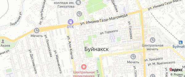 Улица Б.У.Гаджиева на карте Буйнакска с номерами домов