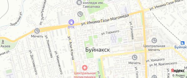 Улица Гаджиева на карте Буйнакска с номерами домов