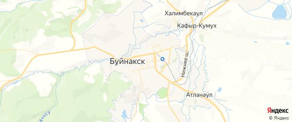 Карта Буйнакска с районами, улицами и номерами домов: Буйнакск на карте России