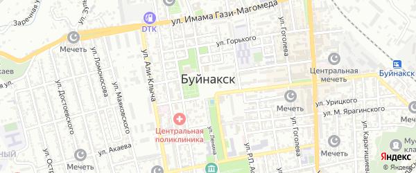 Переулок Муртаз Гаджиева на карте Буйнакска с номерами домов