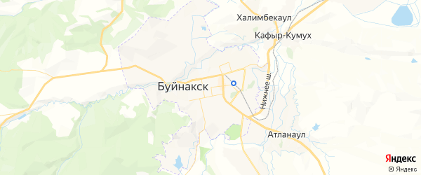 Карта Буйнакска с районами, улицами и номерами домов